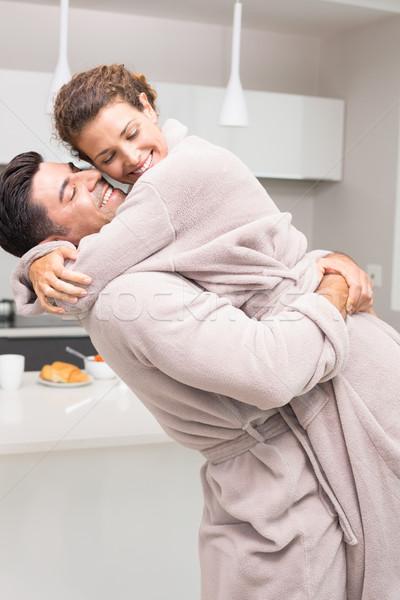 Férfi emel ölel partner reggel otthon Stock fotó © wavebreak_media