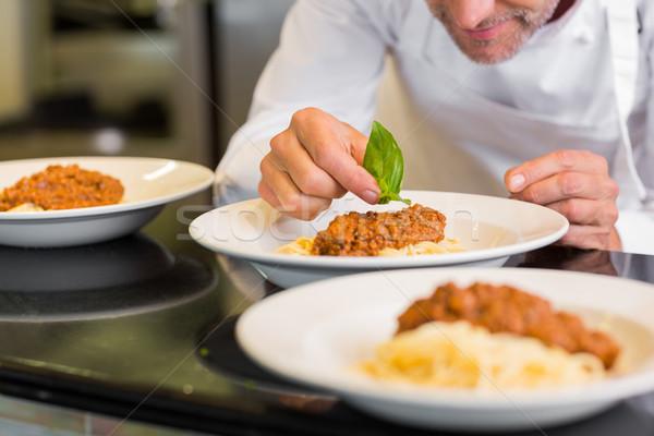 Közelkép férfi szakács étel középső rész konyha Stock fotó © wavebreak_media