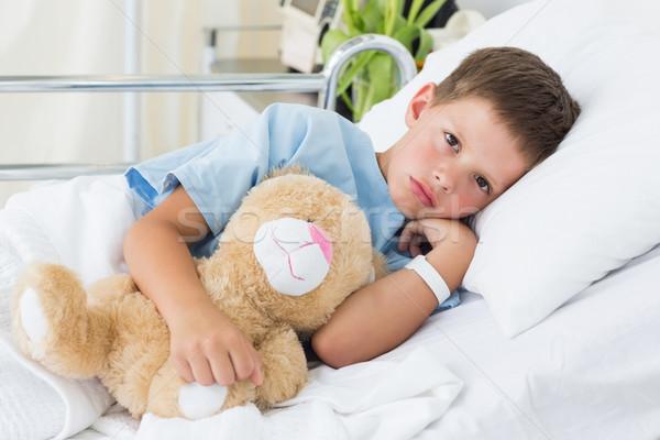 Little boy with teddy bear in hospital Stock photo © wavebreak_media