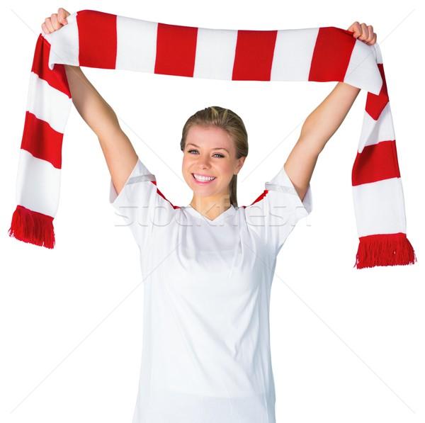 Mooie voetbal fan witte juichen voetbal Stockfoto © wavebreak_media