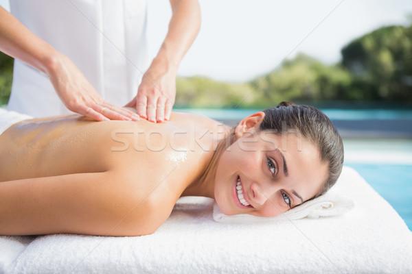 Felice bruna massaggio fuori spa ritratto Foto d'archivio © wavebreak_media