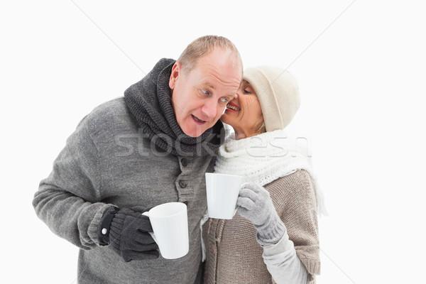 Gelukkig volwassen paar winter kleding Stockfoto © wavebreak_media