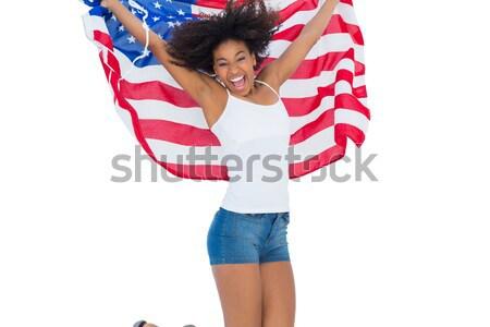 довольно девушки американский флаг камеры Сток-фото © wavebreak_media