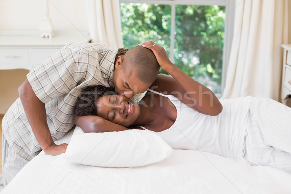 Happy couple spending time together in the morning Stock photo © wavebreak_media