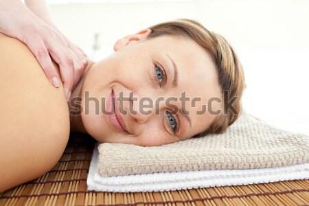 Gyönyörű szőke nő vákuum csészék hát gyógyfürdő Stock fotó © wavebreak_media
