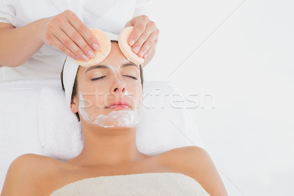 Hand cleaning womans face with cotton swabs Stock photo © wavebreak_media