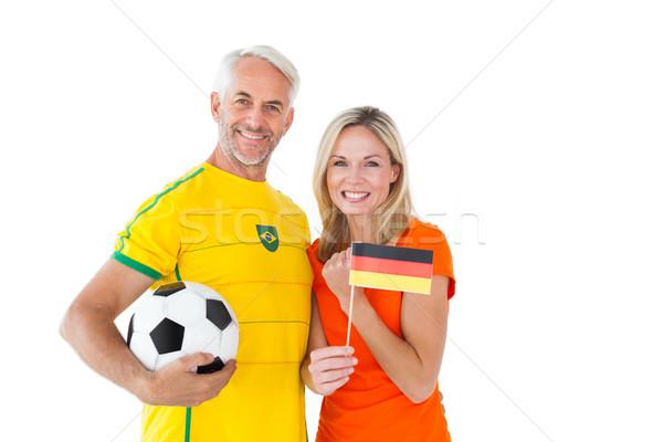 Piłka nożna fan para uśmiechnięty kamery Zdjęcia stock © wavebreak_media