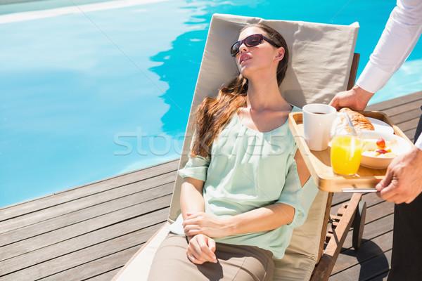 Alszik nő pincér reggeli tálca fiatal nő Stock fotó © wavebreak_media