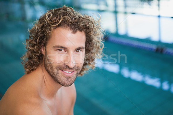 Close up portrait of a shirtless fit swimmer by pool Stock photo © wavebreak_media