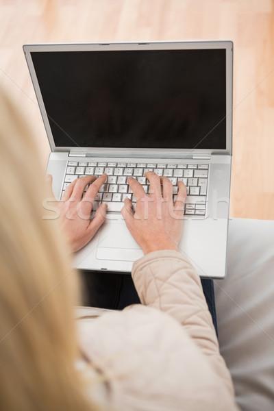Szőke nő laptopot használ kanapé otthon nappali számítógép Stock fotó © wavebreak_media