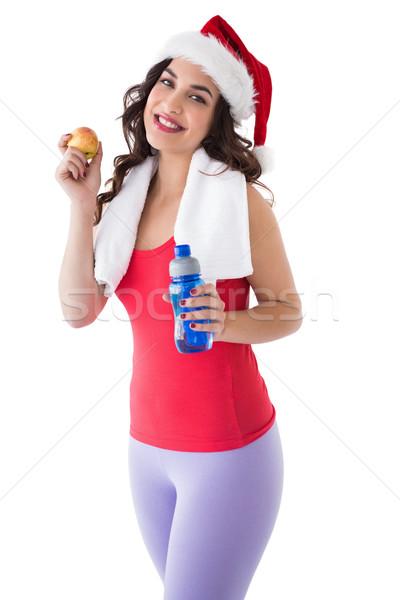 Dopasować brunetka butelki jabłko Zdjęcia stock © wavebreak_media