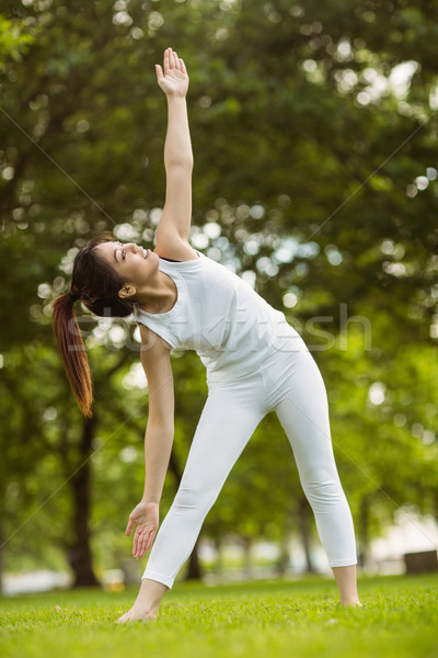 Stock photo: Toned woman doing stretching exercises in park