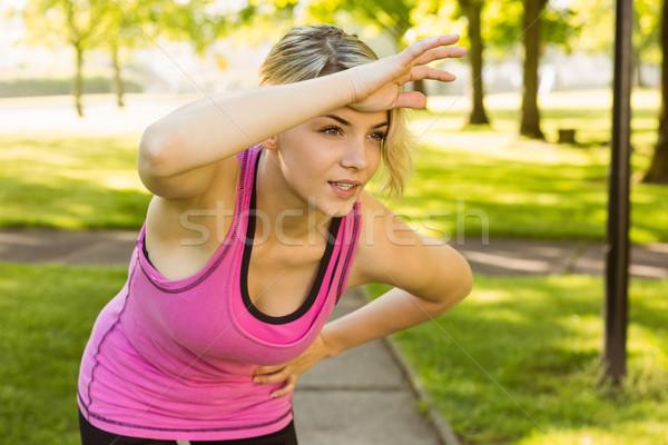 Geschikt blond adem gelukkig sport Stockfoto © wavebreak_media