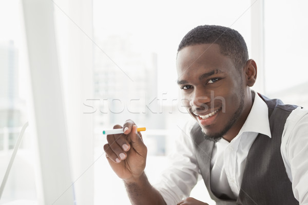Retrato empresario cigarrillo oficina traje Foto stock © wavebreak_media