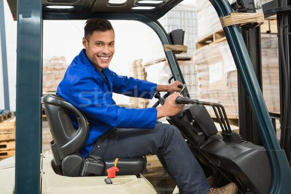 Sofőr targonca gép raktár portré üzlet Stock fotó © wavebreak_media