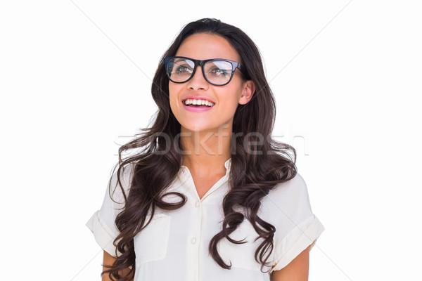 かなり ブルネット ヒップスター 眼鏡 白 幸せ ストックフォト © wavebreak_media