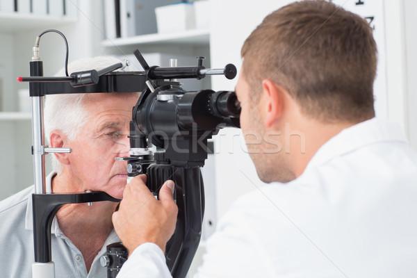 Optikus megvizsgál idős szemek lámpa férfi Stock fotó © wavebreak_media