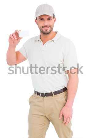 Férfi technikus szerszámosláda vágólap portré fehér Stock fotó © wavebreak_media