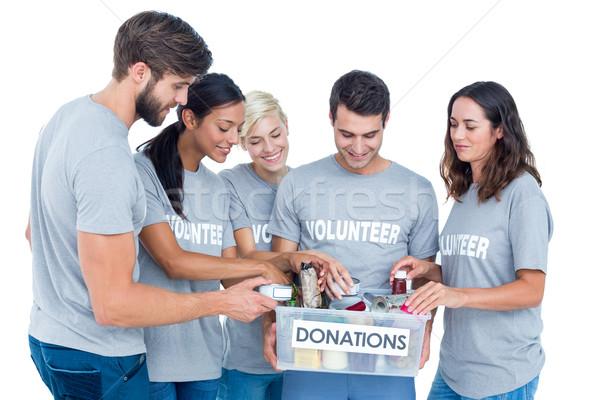 önkéntesek barátok adomány étel férfi doboz Stock fotó © wavebreak_media