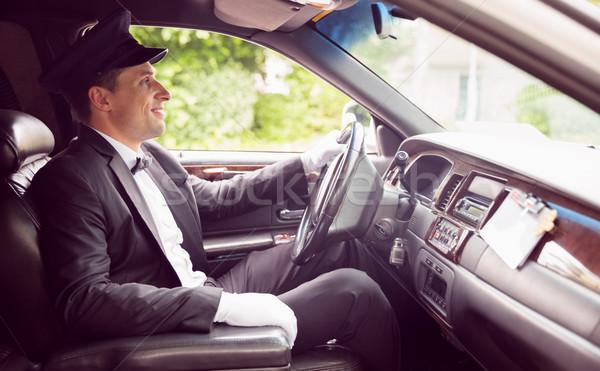 Limousine bestuurder rijden glimlachend man gelukkig Stockfoto © wavebreak_media