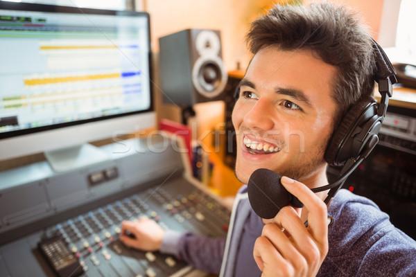 Portrait audio studio radio heureux Photo stock © wavebreak_media
