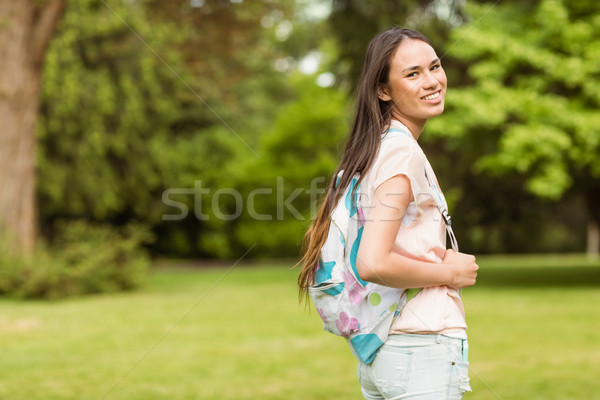 Portre gülen öğrenci omuz çanta park Stok fotoğraf © wavebreak_media
