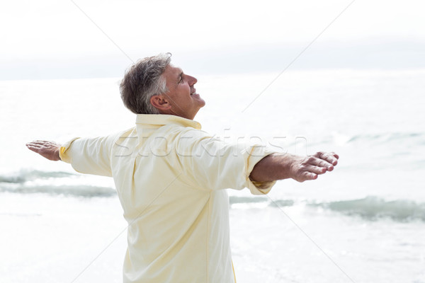 Smiling man standing by the sea arms outstretched Stock photo © wavebreak_media
