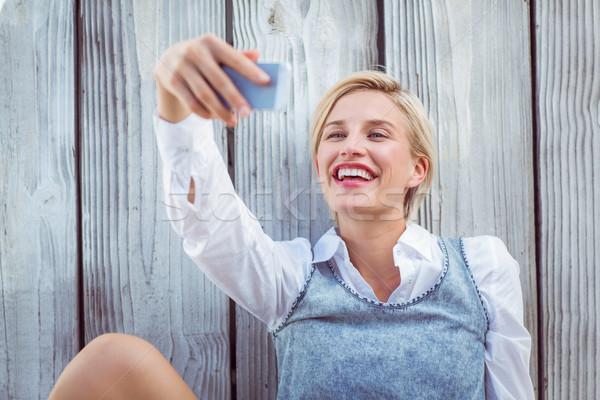 Güzel sarışın kadın gözlük kadın gülen Stok fotoğraf © wavebreak_media