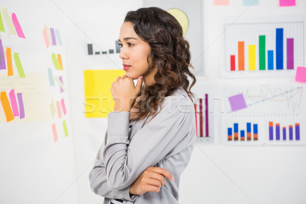 小さな 思考 女性実業家 見える 付箋 オフィス ストックフォト © wavebreak_media