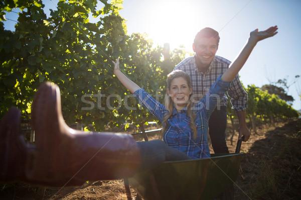 Portrait of happy man pushing his cheerful girlfriend in wheelbarrow at vineyard Stock photo © wavebreak_media