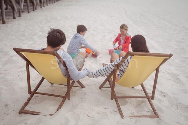 Foto stock: Ver · família · praia · areia