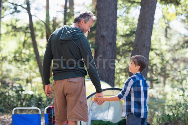 Apa fia kéz a kézben kirándulás erdő hátsó nézet fa Stock fotó © wavebreak_media