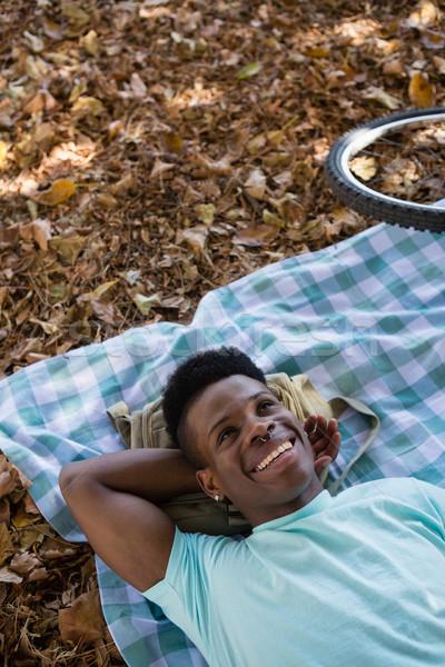 человека расслабляющая пикник одеяло молодым человеком искусства черный Сток-фото © wavebreak_media