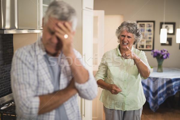 Stock fotó: Mérges · idős · nő · kiált · férfi · otthon