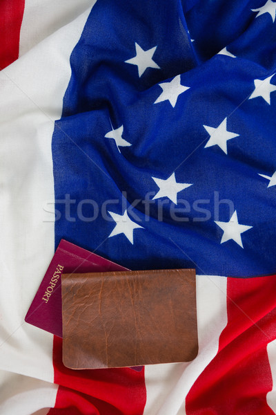 Passport and visa on an American flag Stock photo © wavebreak_media