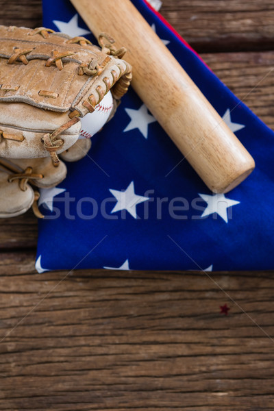 бейсбольной битой перчатки американский флаг спорт синий Сток-фото © wavebreak_media
