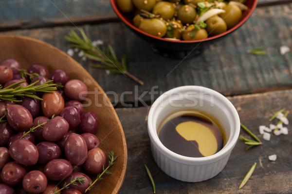 Magasról fotózva kilátás olajbogyók ital asztal felszolgált Stock fotó © wavebreak_media