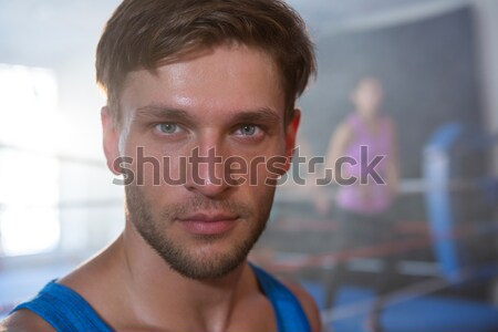 Close-up portrait of young boxer with bleeding nose Stock photo © wavebreak_media