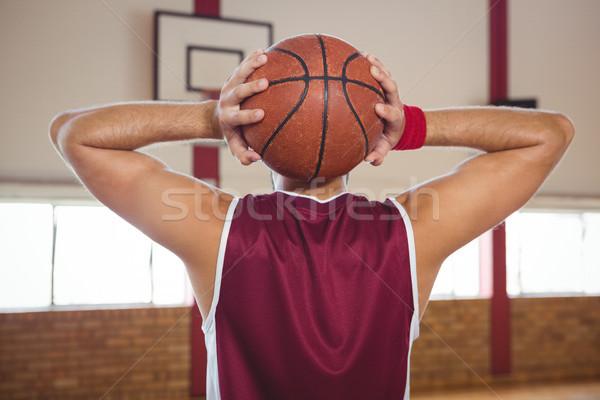 Hátsó nézet kosárlabdázó labda bíróság tart gyakorol Stock fotó © wavebreak_media