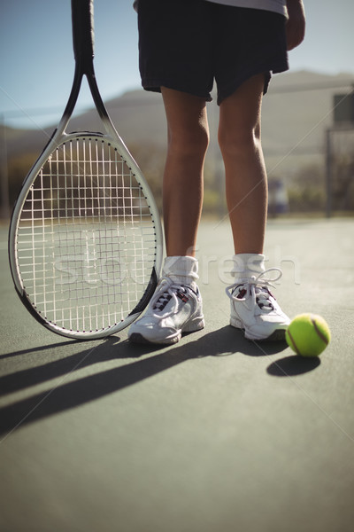 Fille raquette de tennis balle tribunal faible Photo stock © wavebreak_media