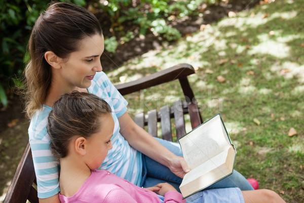 Tilt shot of mother reading novel to daughter on wooden bench Stock photo © wavebreak_media