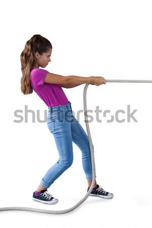 Lány toló mögött fehér oldalnézet sikoly Stock fotó © wavebreak_media