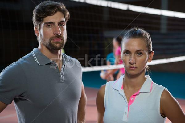 Portrait volleyball joueurs tribunal permanent femme Photo stock © wavebreak_media