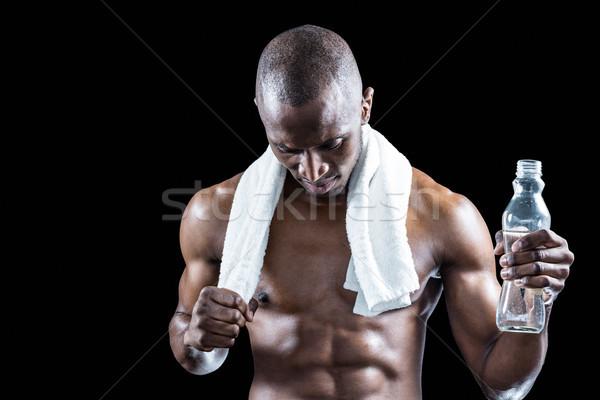 Atleet handdoek rond nek veldfles Stockfoto © wavebreak_media