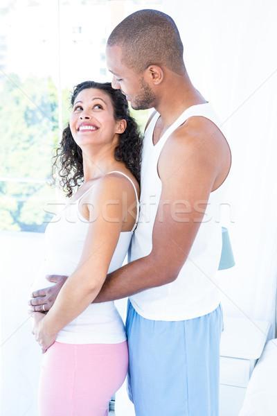 Oldalnézet boldog terhes feleség férj megérint Stock fotó © wavebreak_media