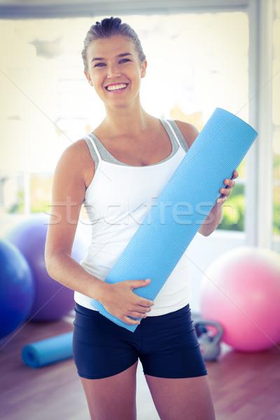 Portre gülümseyen yoga mat uygunluk stüdyo Stok fotoğraf © wavebreak_media