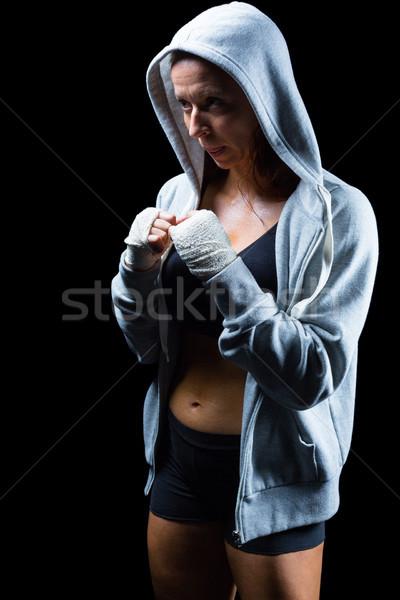 女性 戦闘機 スタンス 黒 健康 ストックフォト © wavebreak_media