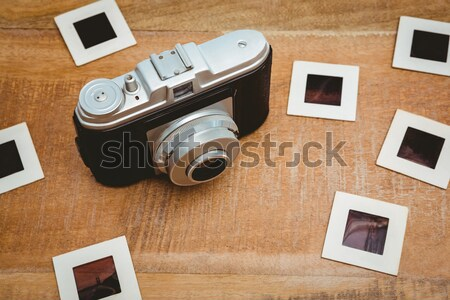 Görmek eski kamera mavi tablet ahşap Stok fotoğraf © wavebreak_media