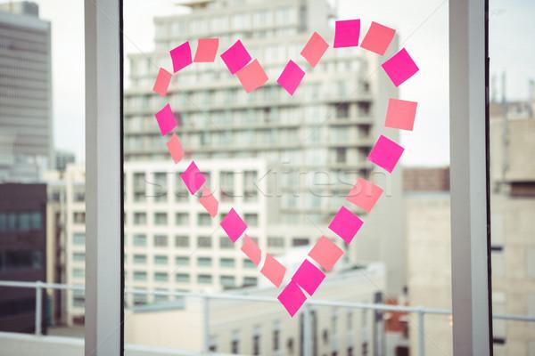 Hart venster kantoor gebouw glas frame Stockfoto © wavebreak_media