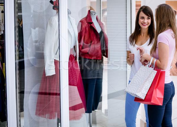 Twee mooie vrouwen venster Stockfoto © wavebreak_media